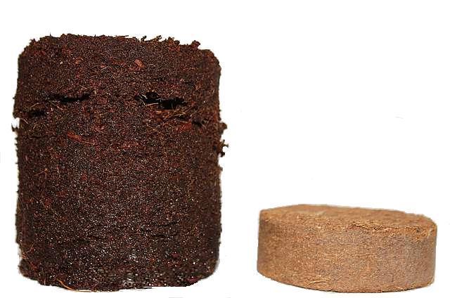 Пример увеличения в объеме кокосовой таблетки